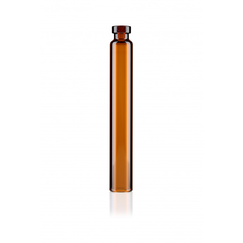 Amber glass cartridge for dental applications made of tubular glass