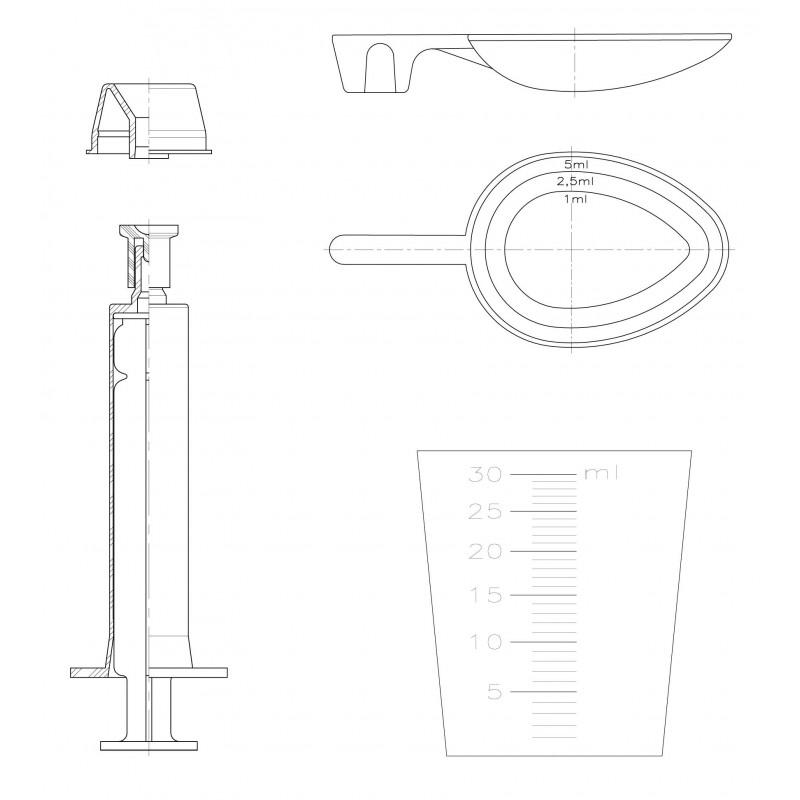 Gerresheimer produz colheres para frascos farmacêuticos de plástico.