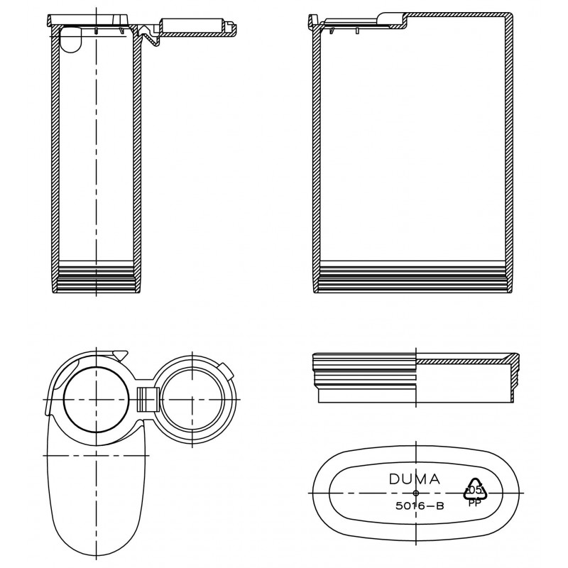 Drawing of Duma® Pocket plastic cap