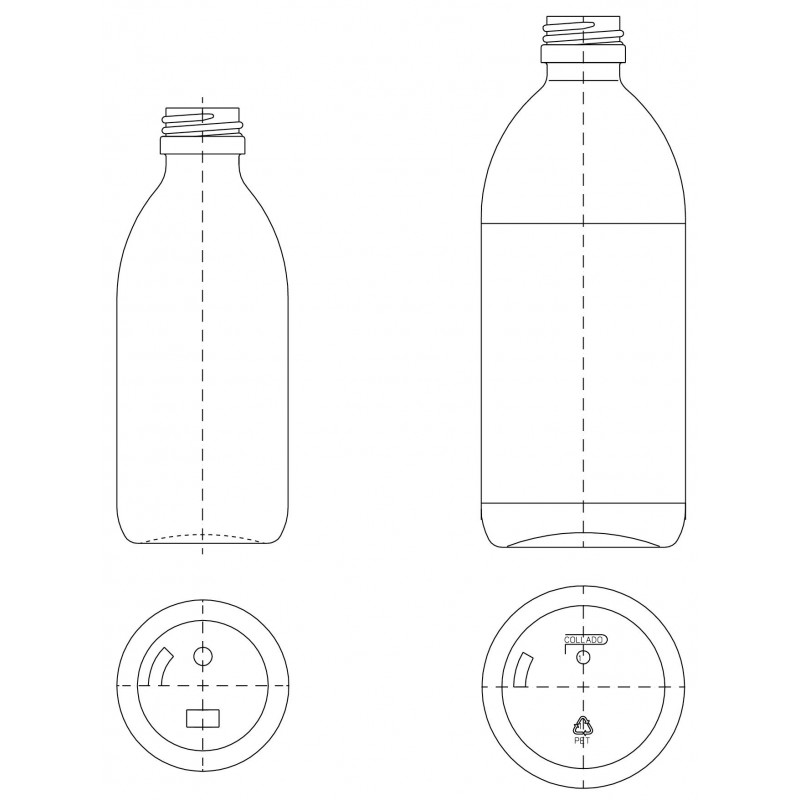 Drawing of PF bottle PP28
