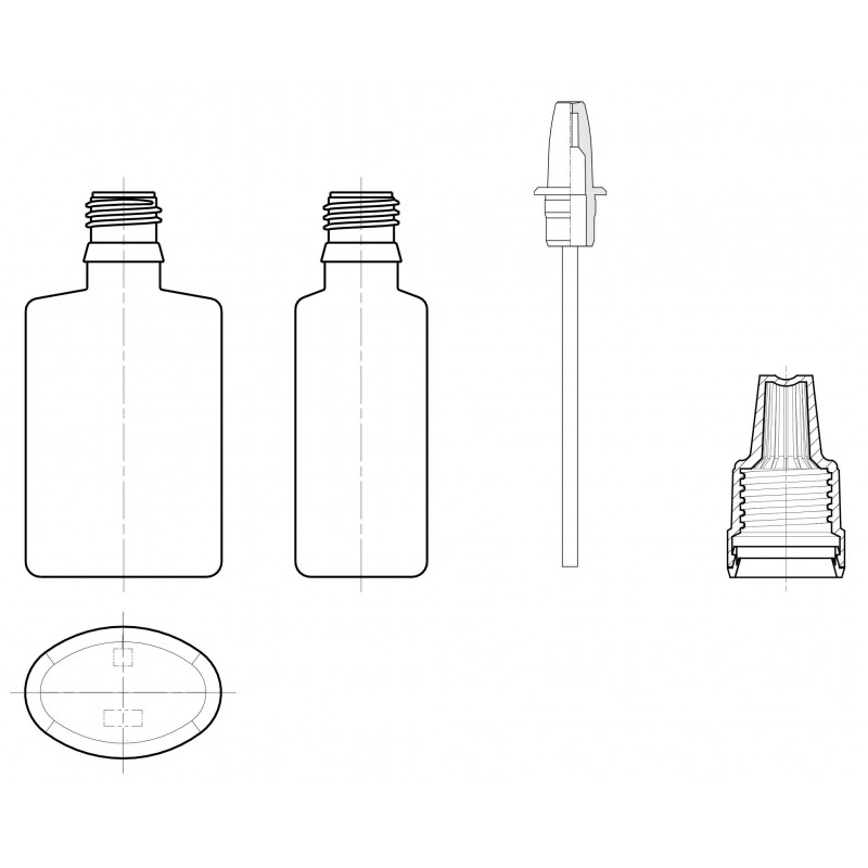 Drawing of spray bottles with nebuliser System NEB plastic bottles and accessoires