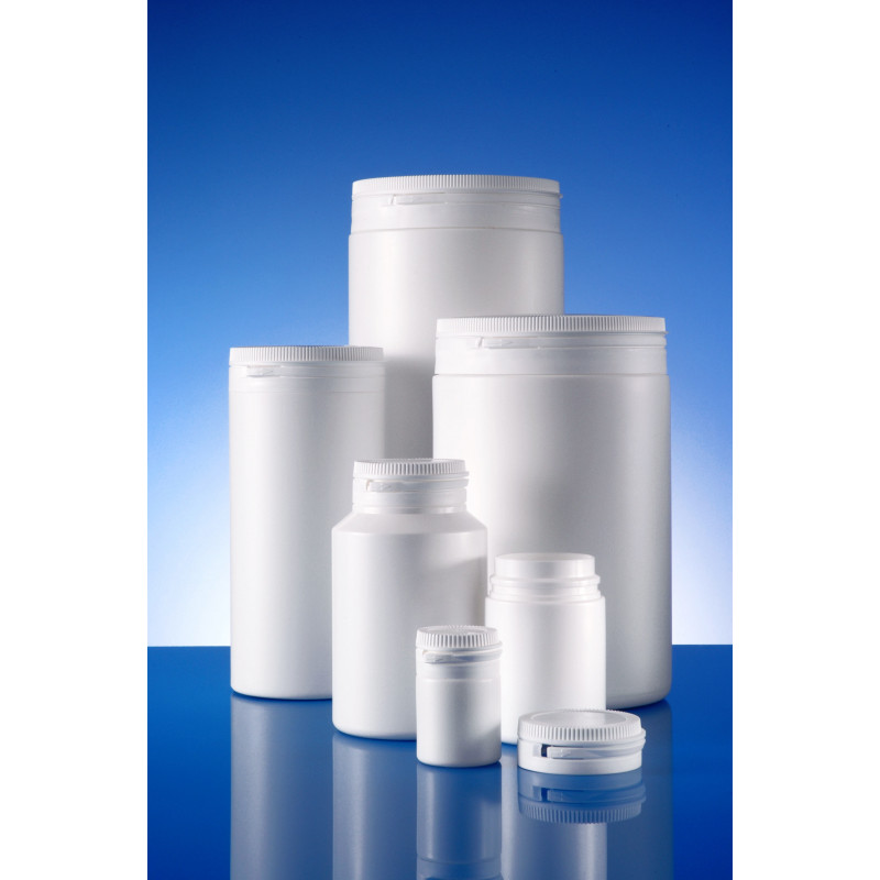 Dudek™ plastic container for solid pharmaceuticals