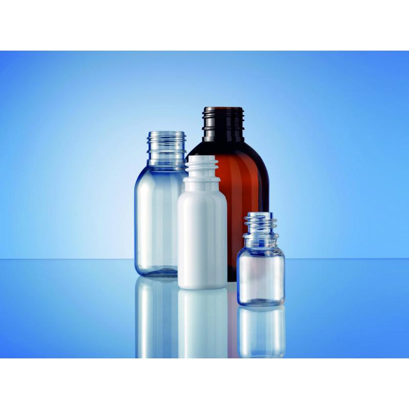 Frascos PET Boston Round 18, embalagens plásticas para produtos farmacêuticos (15ml)