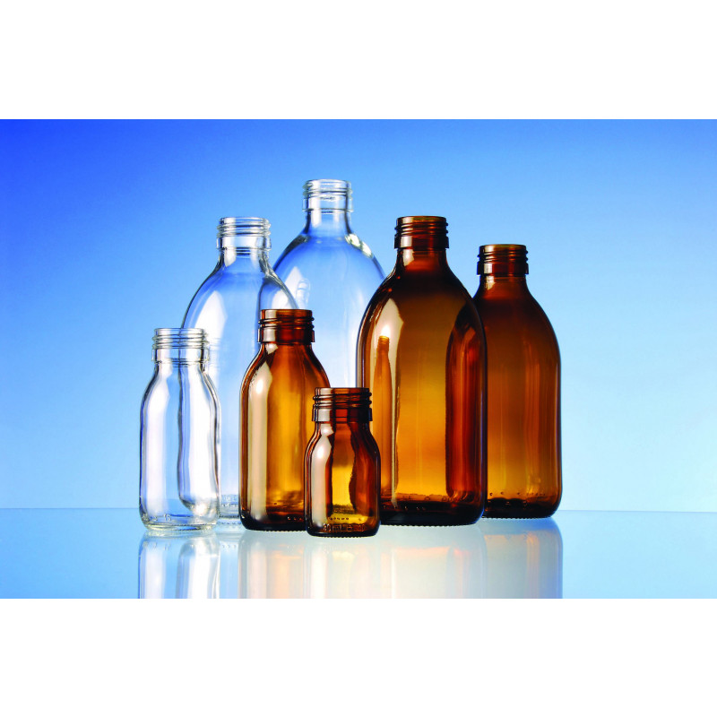 Syrup light glass bottle alpha made of moulded glass for pharmaceutical use