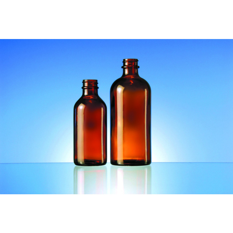 Peroxide bottles made of moulded glass for pharmaceutical products and others.