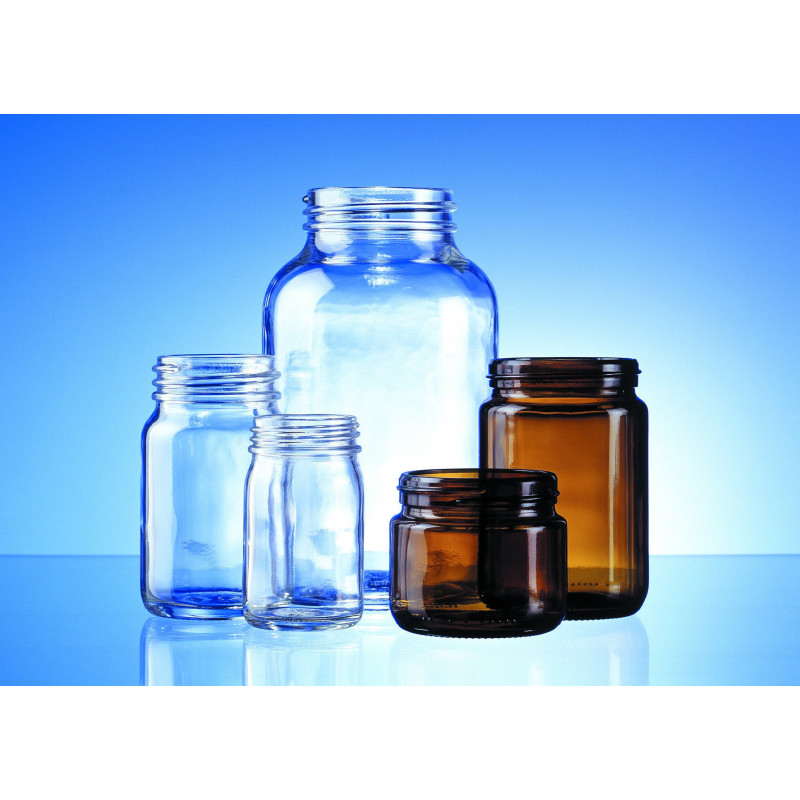 Wide-mouth jars made of moulded glass for pharmaceuticals and herbaceuticals