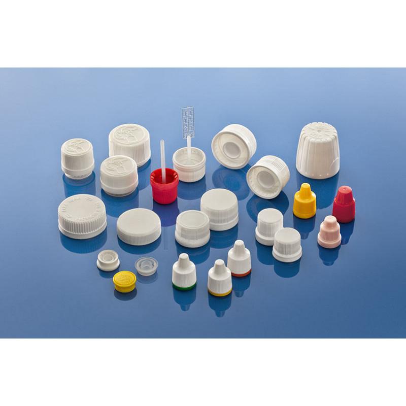 Tampas, 28M-SP400, graduada, para frascos plásticas para produtos farmacêuticos