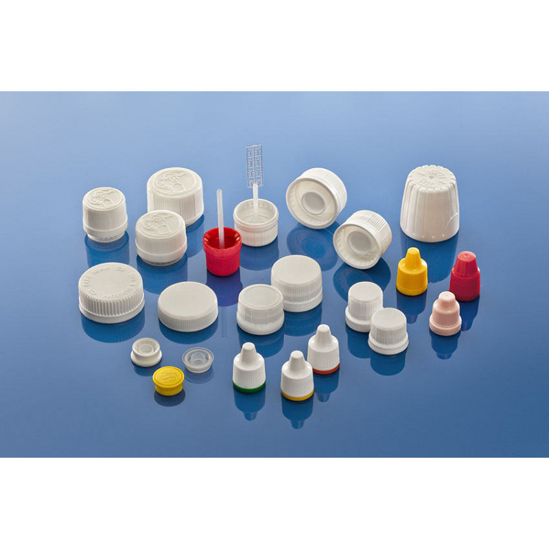 Tapa 18C con agujero para frascos plásticos para productos farmacéuticos