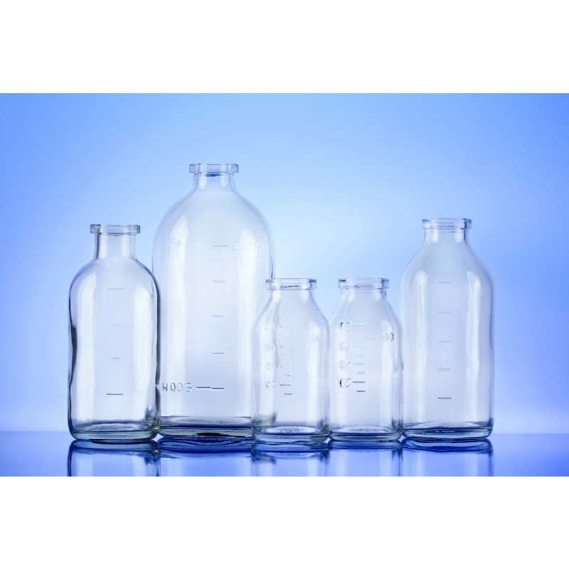 Type I infusion bottles plain neck made of moulded glass with marking