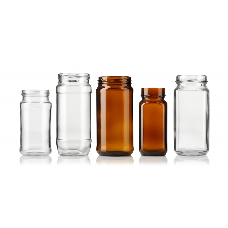 Wide-mouth jars made of moulded glass
