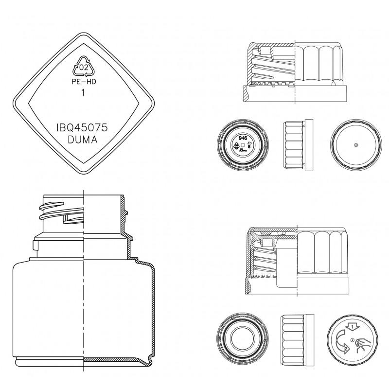 Drawing of Duma® Twist-Off Q plastic cap