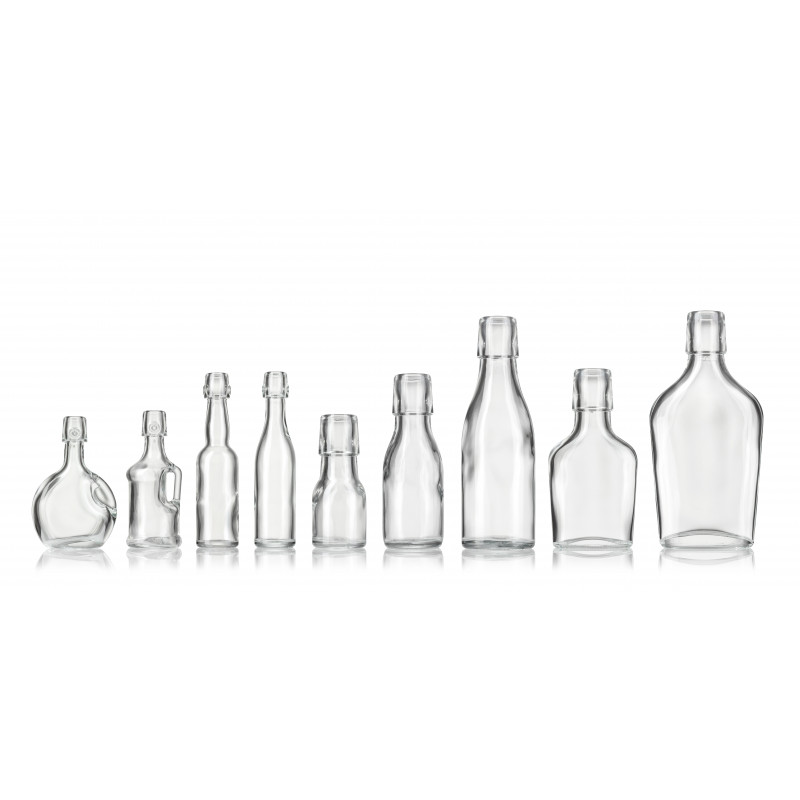 Spirit miniatures with swing stopper made of moulded glass (100ml)
