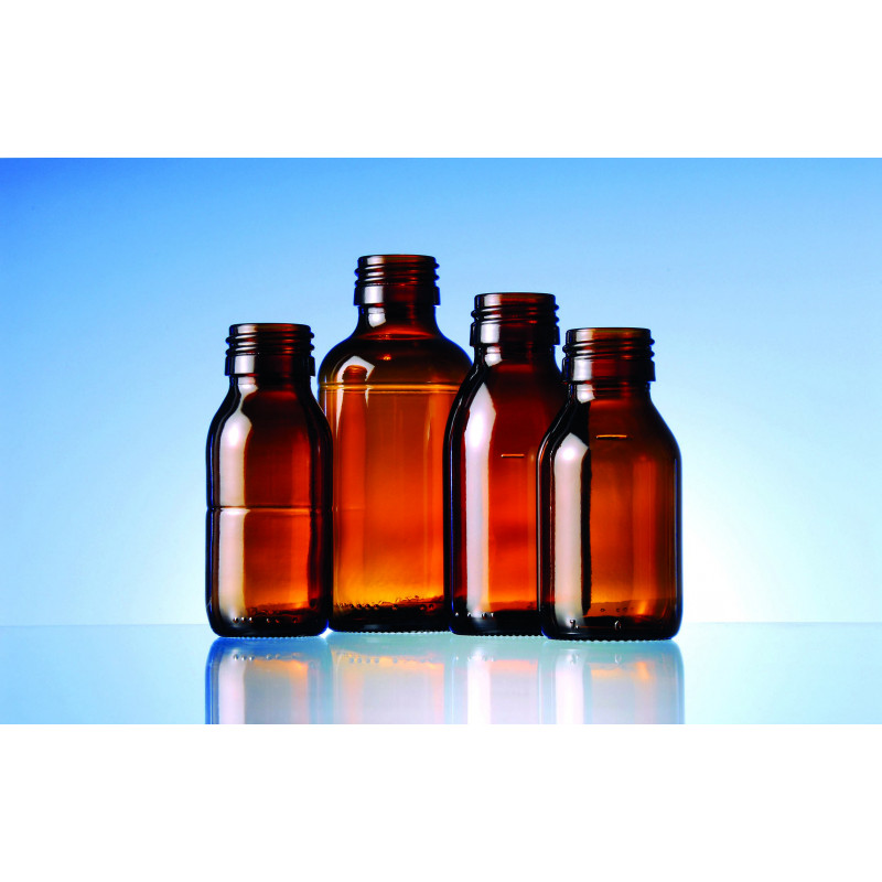 Syrup glass bottles with filling mark made of moulded glass for pharmaceutical use