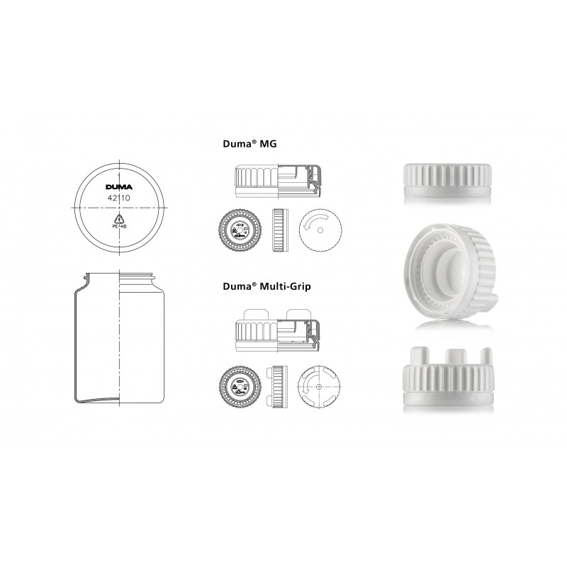Drawing of Duma® MG / Duma® Multi-Grip container and caps