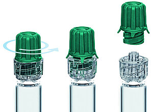 Closure system for prefillable luerlock glass syringes