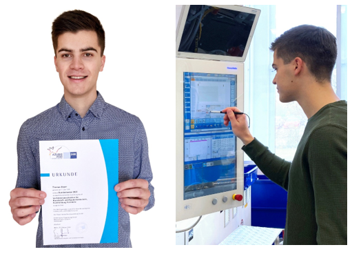 Excellent: Thomas Bayer from Gerresheimer completes his examination as a process mechanic in plastics and rubber technology as the best apprentice in Germany.