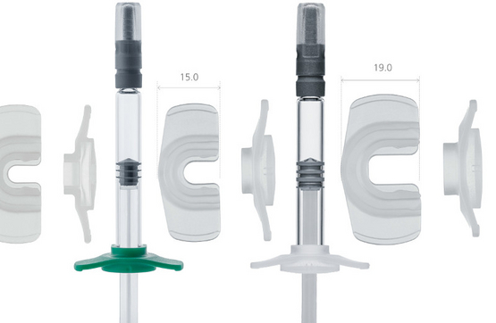 Backstops, finger enlargement for prefillable glass syringes
