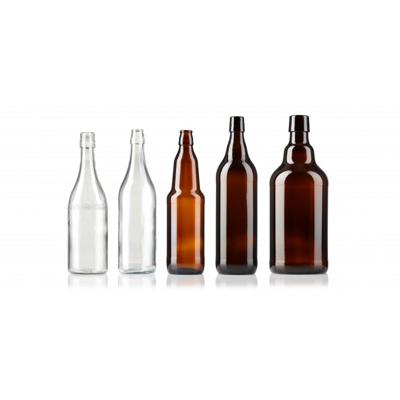 Beer bottles with swing stopper made of moulded glass (1000ml)