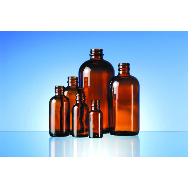 Boston Round bottles made of moulded glass for pharmaceutical use