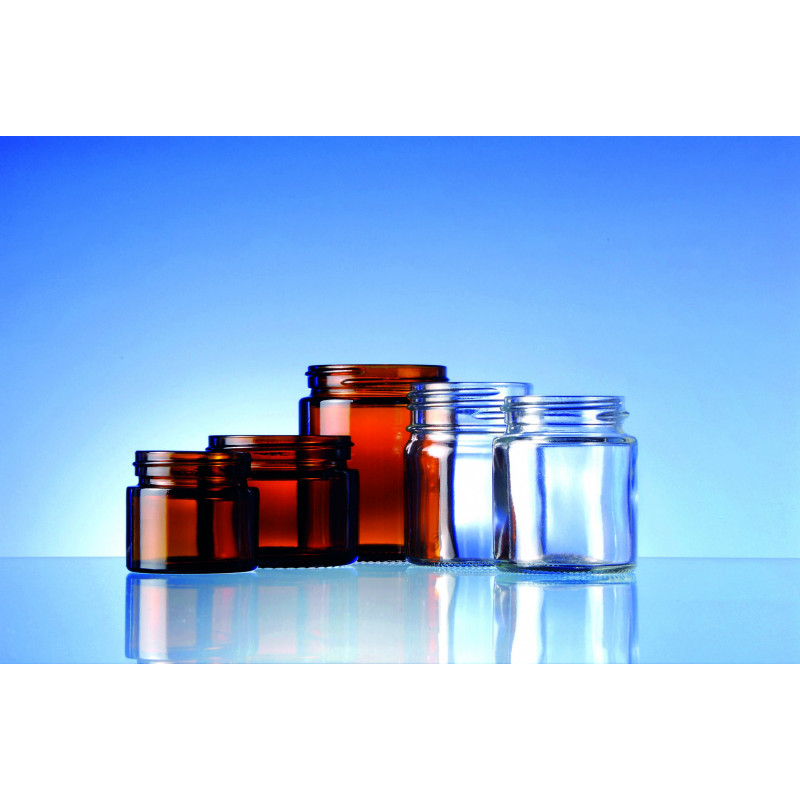 Cream pots made of moulded glass for pharmaceuticals and cosmetic use