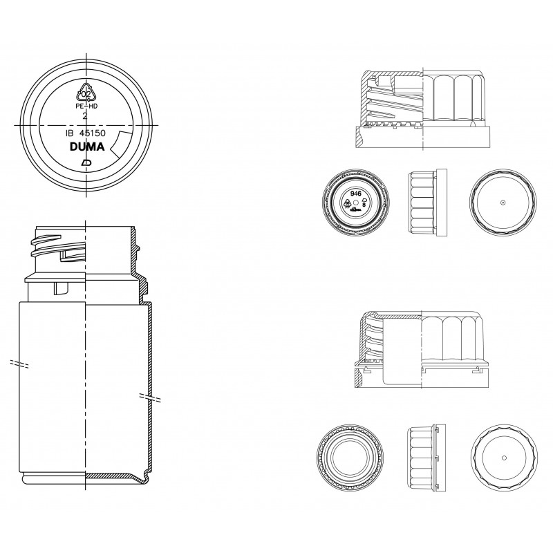 Drawing of Duma® Twist-Off plastic cap