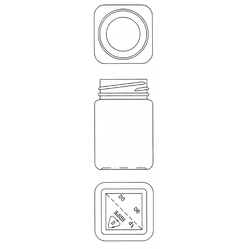Drawing of Triveni Black Lining (induction seal) plastic container for solids