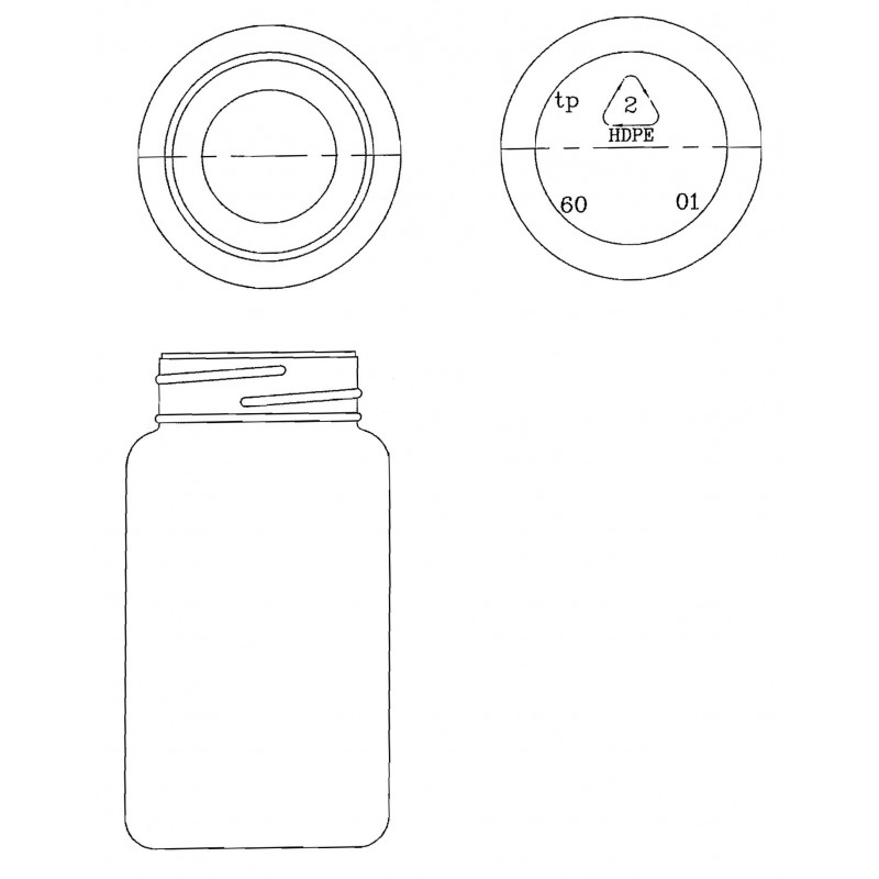 Drawing of Triveni Square (induction seal) plastic container for solids