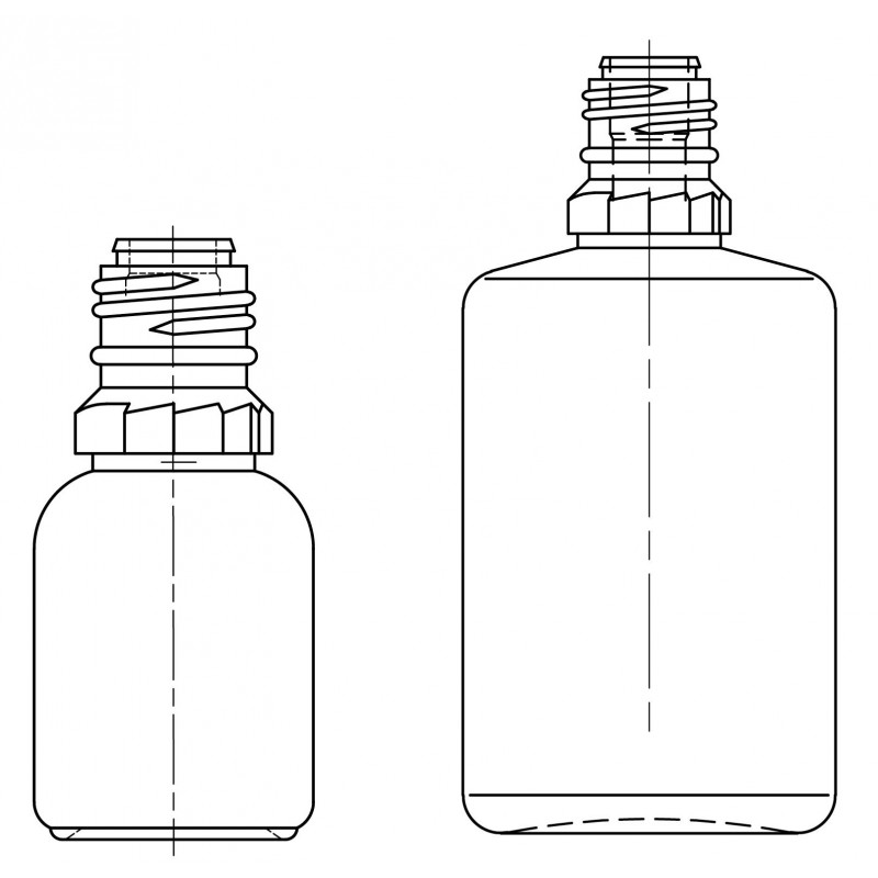 Drawing of dropper bottles - System A (HDPE) plastic bottles for ophthalmics
