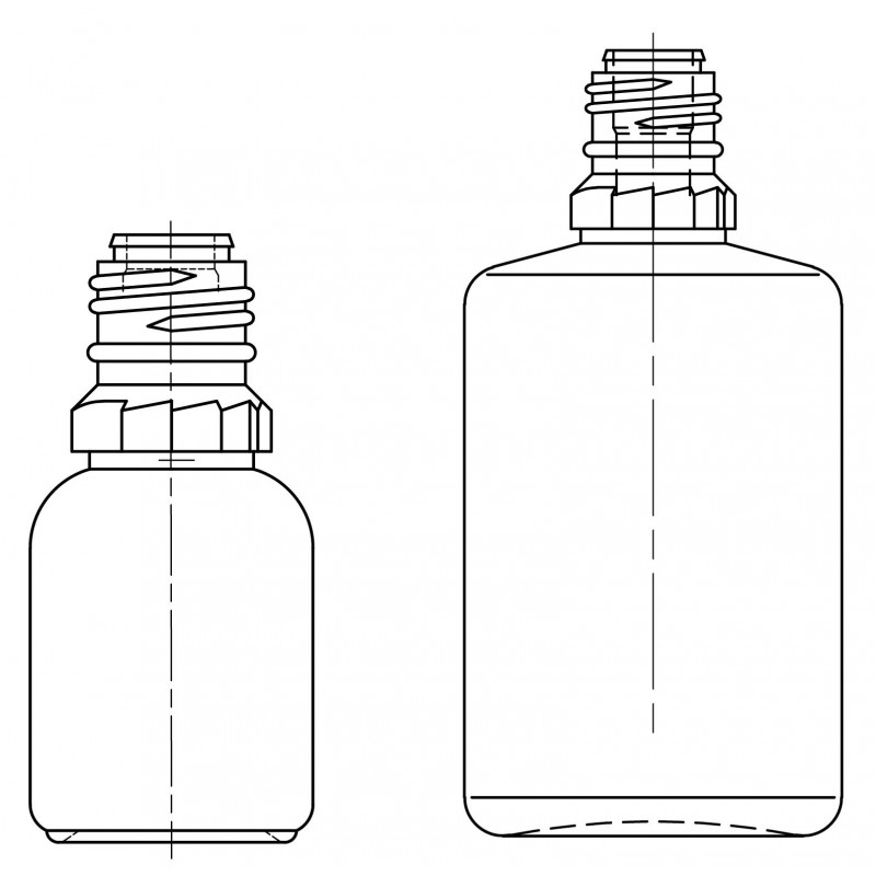 Drawing of dropper bottles - System A (LDPE) plastic bottles for ophthalmics