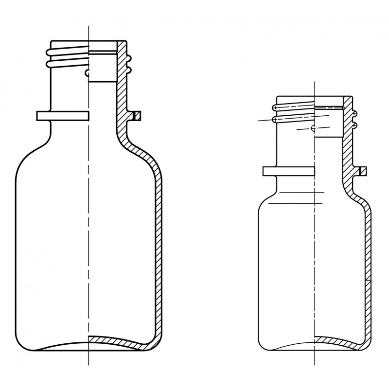 Drawing of dropper bottles System B plastic bottled for ophthalmics