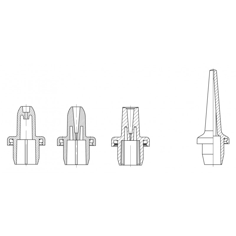 Dropper and nozzle for dropper bottles System A plastic bottles for ophthalmics