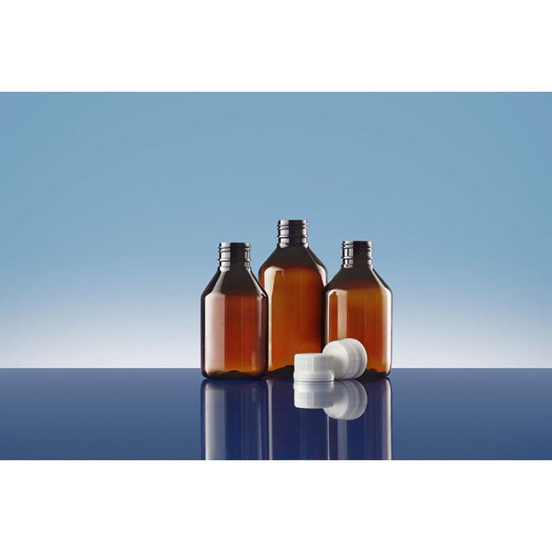 Frascos PET Modern Round 28, embalagens plásticas para produtos farmacêuticos (120ml)