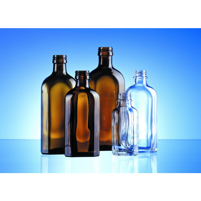 Shaped Meplat bottle made of moulded glass for pharmaceutical and herbaceutical use