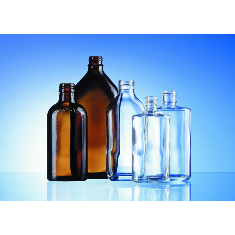 Shaped oval bottle made of moulded glass for pharmaceutical and herbaceutical use