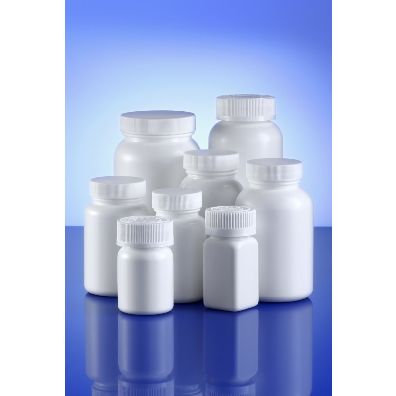 Triveni Square (induction seal) plastic container for solid pharmaceuticals