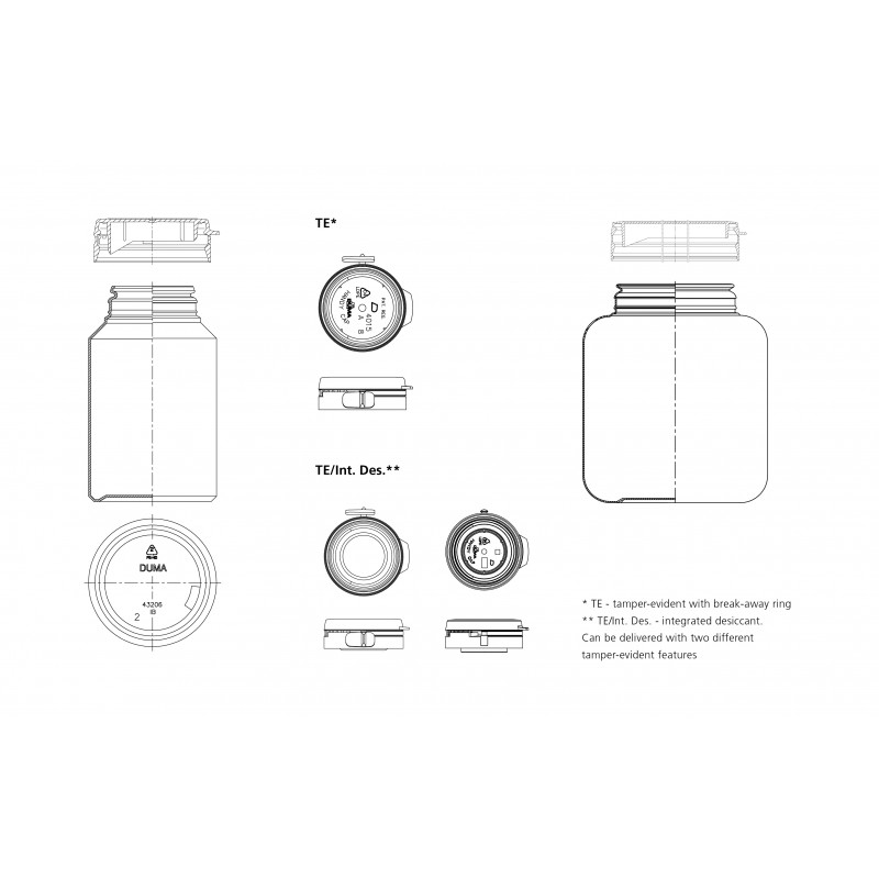Drawing of Duma® Standard container